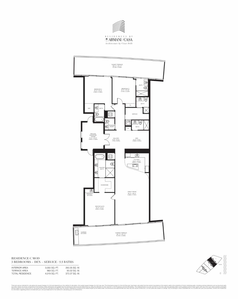 Residences by Armani Casa Unit 5201 floor plan