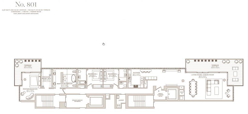 Arte Surfside Residence 801 floor plan
